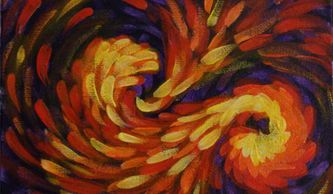Small acrylic painting of swirls done with red, yellow, and orange with hints of purple on black