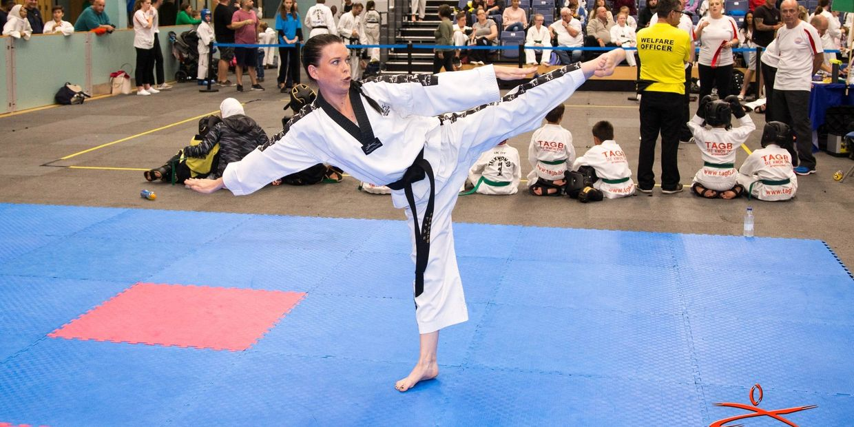Katie Billingham in her gold medal winning performance, British Taekwondo Council Tournament 2019