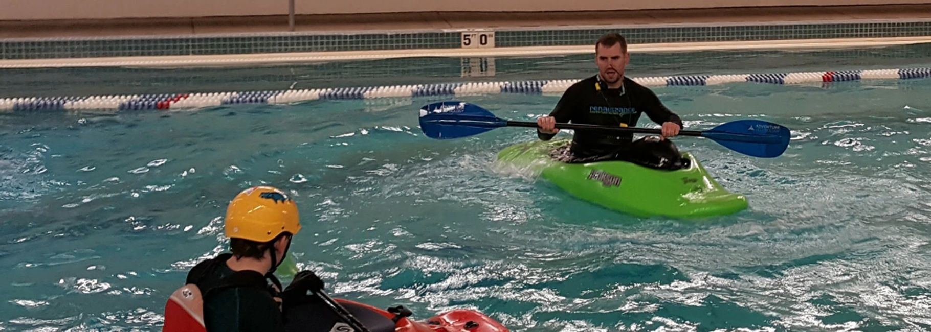 Learn to whitewater kayak at the Golden swimming pool. Premier kayak instruction in Colorado.