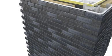 Corium brick rainscreen installation