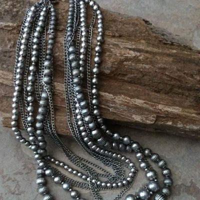 Multi-strand oxidized silvertone bead and chain necklace #130146.