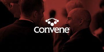 Two men talking with the logo for Convene Podcast