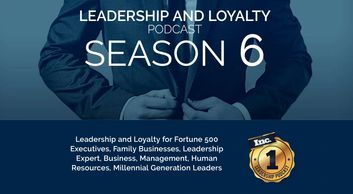 Businessman buttoning suit jacket with the text Leadership And Loyalty Podcast, season 6