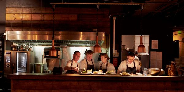 The Donnelly's team in the open kitchen