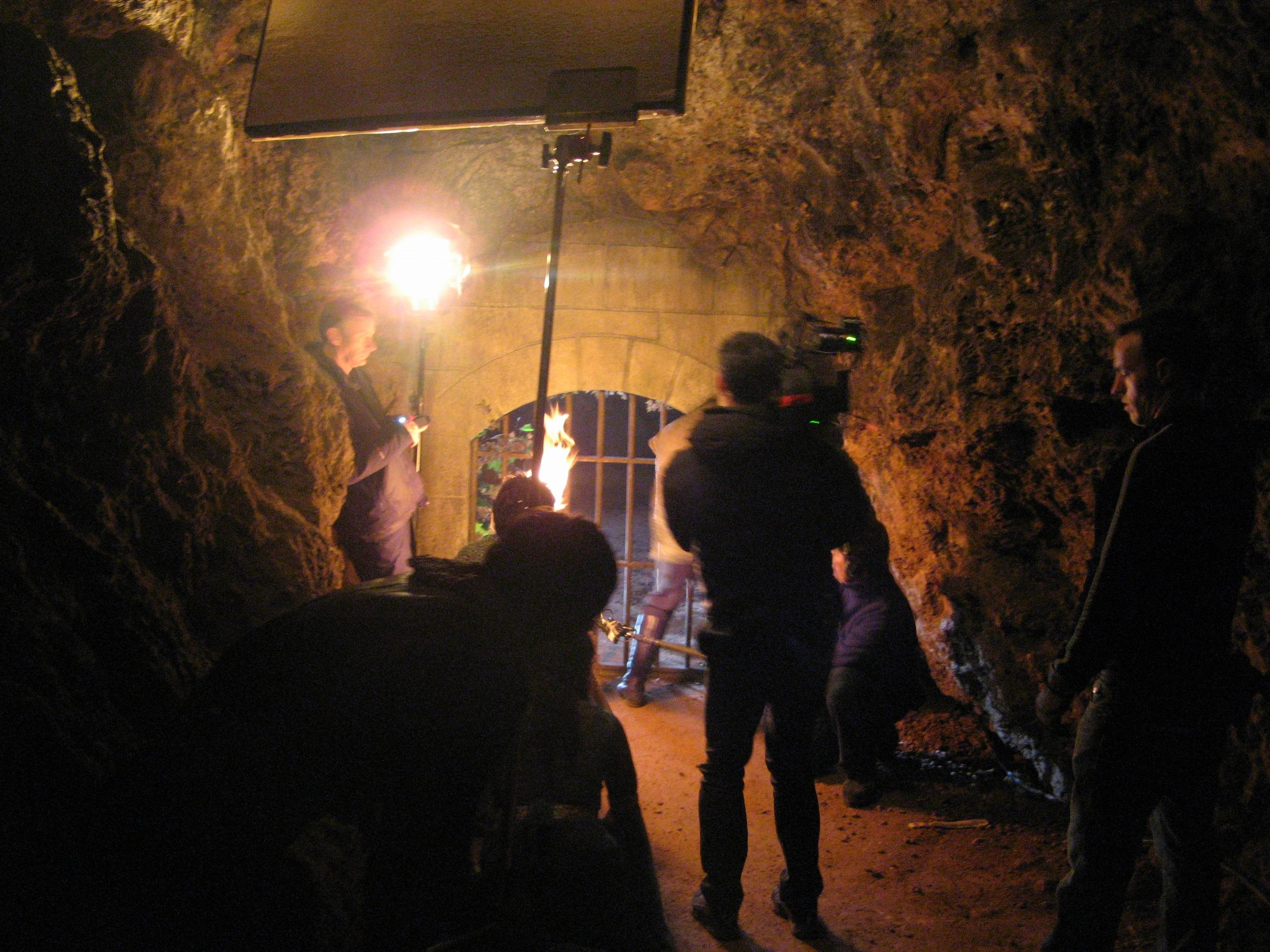 Filming underground with a film crew