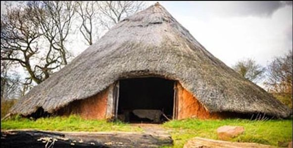 roundhouse with thatched roof