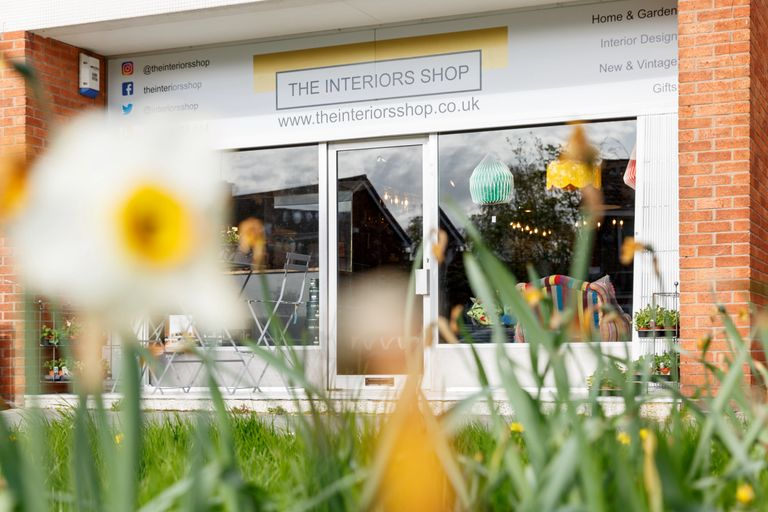 Shop front with daffodils