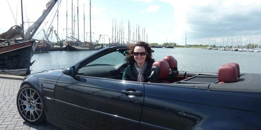 Claire in the BMW by Enkhuizen harbour
