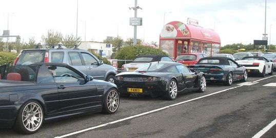 Lined up with the other sports cars for the eurotunnel crossing