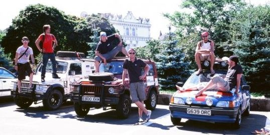 Suzuki SJ's in Kiev, Ukraine on the Mongol Rally