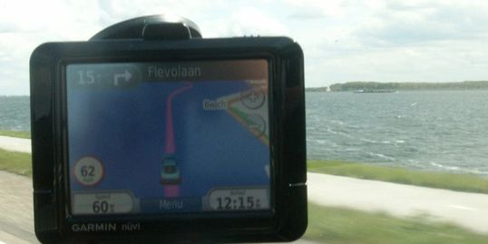 A worrying satnav instruction, driving across the water