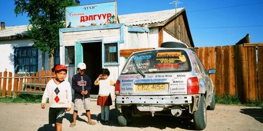 Popping to the shops in the Micra, Mongolian style!