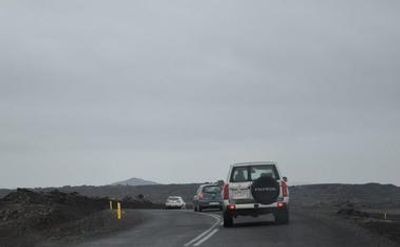 Convoy of cars on the road in Iceland