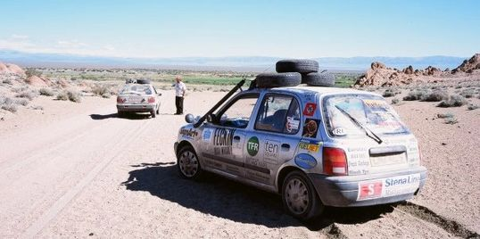 Nissan Micra's in western Mongolia on the Mongol Rally