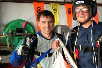 AFF instructor Ed with a skydiving student.