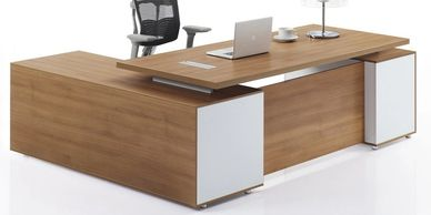 Office furniture manufacturer-office table design with contrasting supports