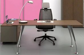 Office furniture manufacturer-office table design with chrome-plated angular metal legs