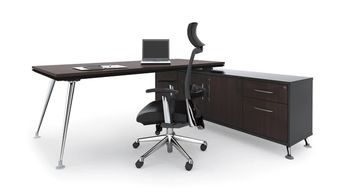 Office furniture manufacturer-office table design with chrome-plated metal legs