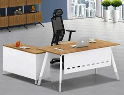 Office furniture manufacturer-office table design with chrome-plated metal legs and metal modesty