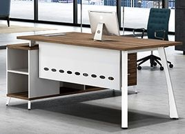Office furniture manufacturer-office table design with metal legs and open side credenza white color
