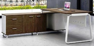 Office furniture manufacturer-office table design with metal legs in a loop design