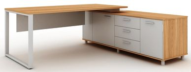 Office furniture manufacturer-office table design with metal loop legs and side credenza