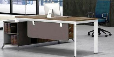 Office furniture manufacturer-office table design with metal legs and open side credenza brown color