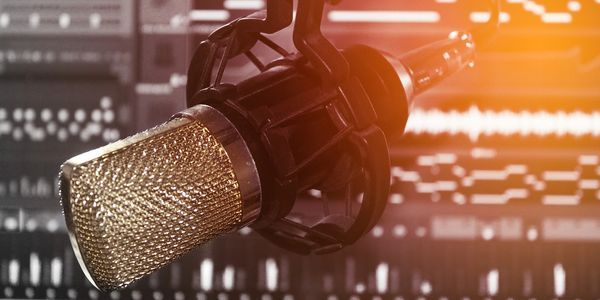 voiceover microphone in a recording studio