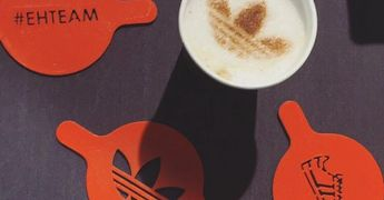 Custome stencil beverage branding topper signature toronto ontario cinnamon sugar coffee topping
