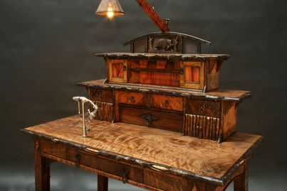 hand-created furniture, fly-fishing details,