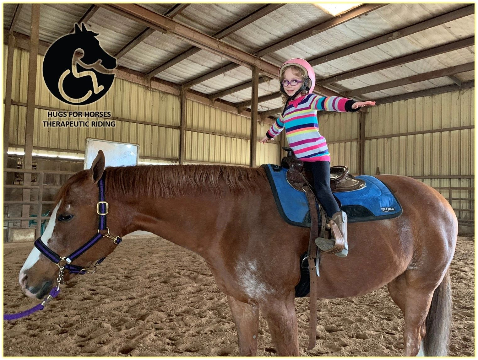 Child with disabilities learns new skills on her Hugs horse!
