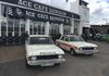 The two Mid Anglia Constabulary Lotus Ford Cortina's posing in front of the Ace Cafe.