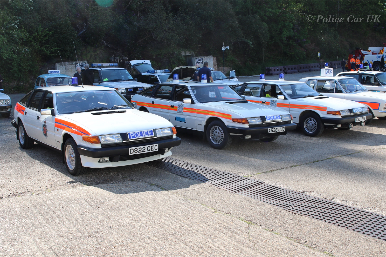 Three iconic Police ROVER SD1 3500 V8's at Brooklands.