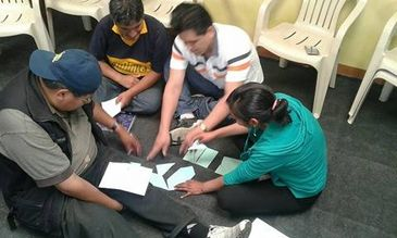 Sharing an activity in a Prevention of Violence workshop