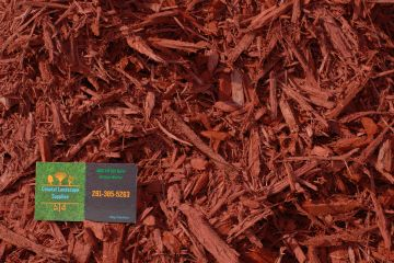 Red Mulch with Coastal Landscape Supplies business card in the corner.