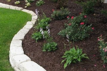 Garden bed with plants, mulch, and stone.