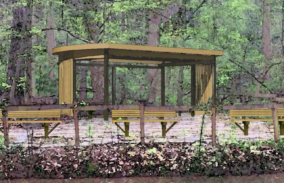 Woodland pavilion concept with benches.