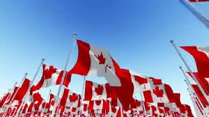 canada flags flying