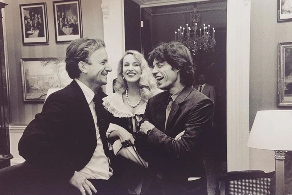 David Campbell w/ Mick Jagger at Everyman's Library launch party in 1991. (Credit EL Instagram Page)