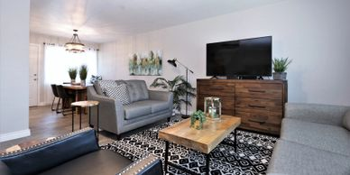 Tucson furnished rental near University of Arizona family room with large smart TV.