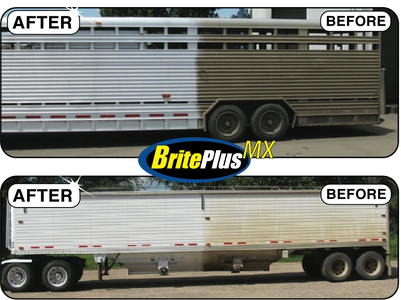 BEFORE & AFTER Brite Plus MX Stained and Oxidized Aluminum Cleaner