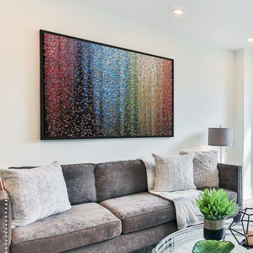 "Photo Mosaic Abstract Wall Art... up to 5000 of your own photos in one place. An amazing addition to any home stimulating memories and conversations. Sizes A1 or Huge A0 print as shown above. ""SIMPLY STUNNING"""