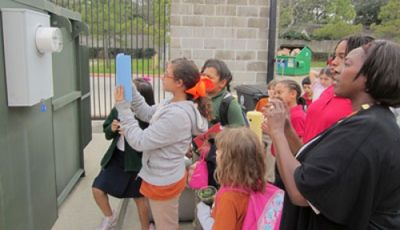 Briargrove Elementary students read the electric meter in becoming a NWF Green Flag Eco-School.