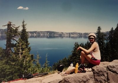 Cycling around the rim of Crater Lake, Washington (1991).