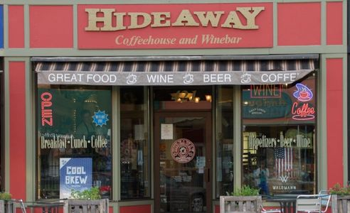 View of the front of The Hideaway Coffee Shop and Wine Bar in Northfield