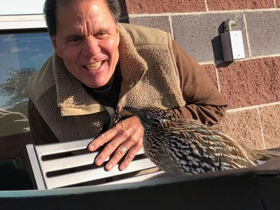 Gary Mazaroff and his new feathered friend outside Einstein Bagels in Albuquerque.