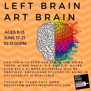 Left Brain Art Brain camp starts June 17th! Each day we will explore a part of STEM with ART.