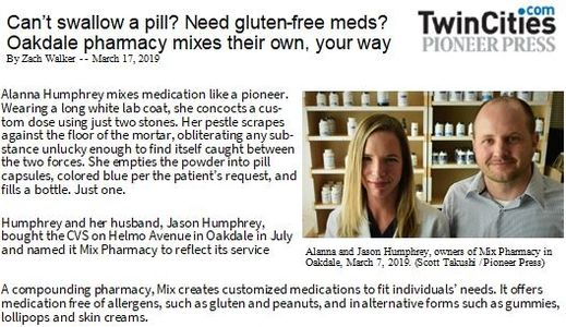 Mix Pharmacy was featured in the Pioneer Press on March 17, 2019.