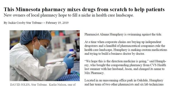 Mix Pharmacy was featured in the Star Tribune on Feb 19, 2019.