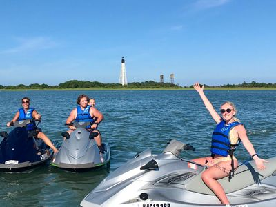 Group photo at Cape Charles Lighthouse during one of our jet ski Eco Tours.